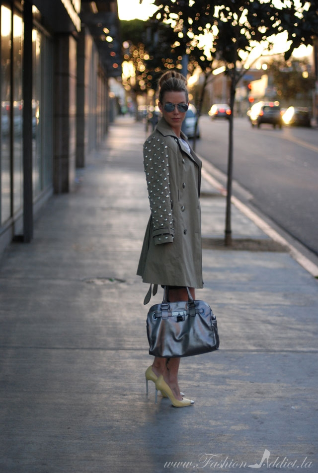 Studded Sleeved Trench Coat