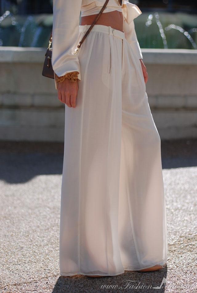 white chiffon pants