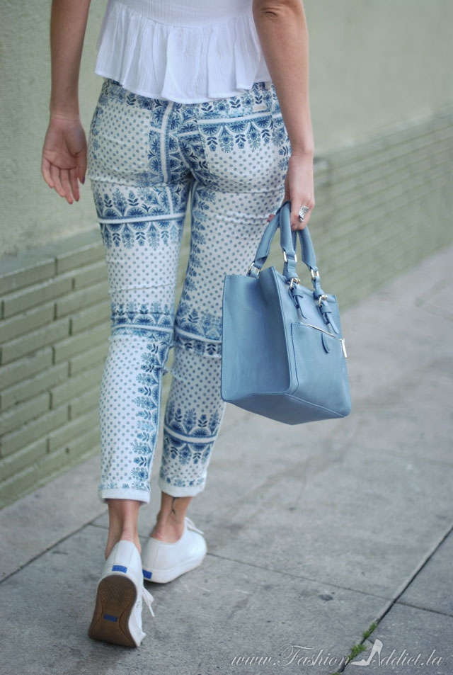 blue and white porcelain printed jeans