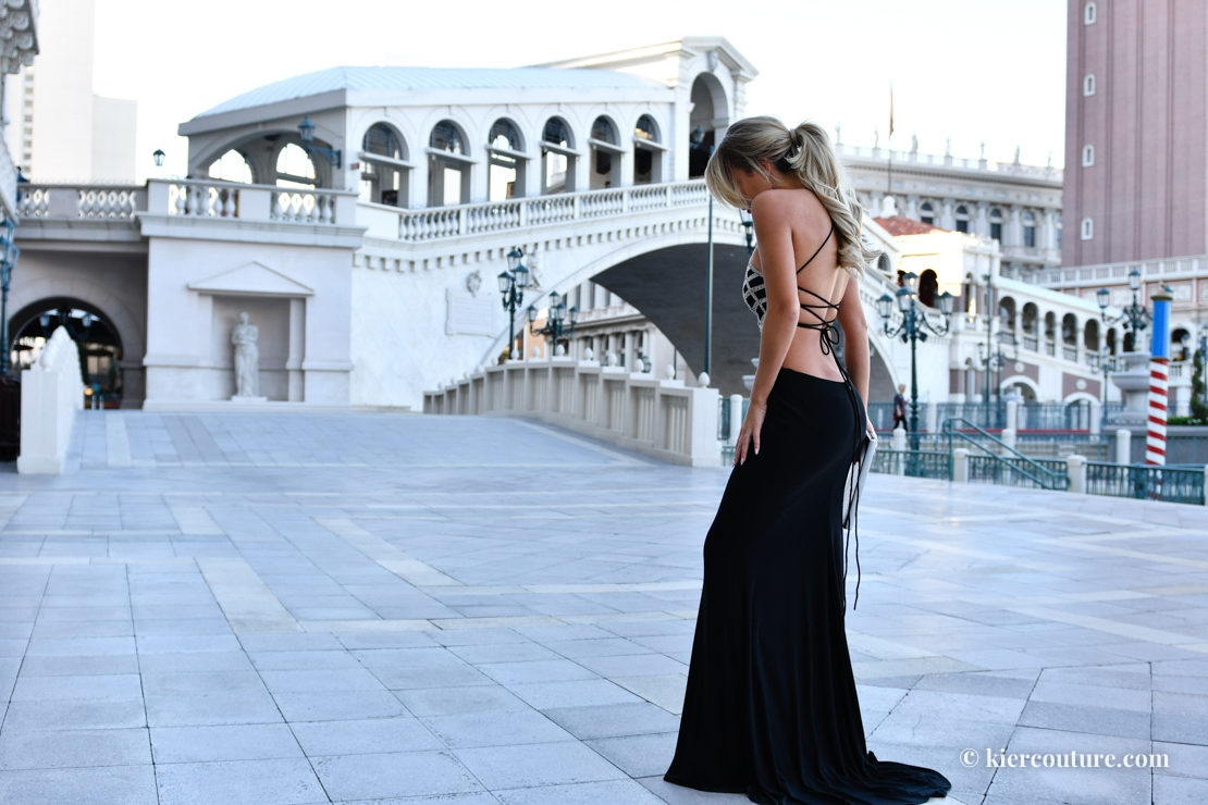 lace up crystal black gown